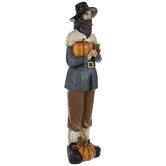 Pilgrim With Pumpkins