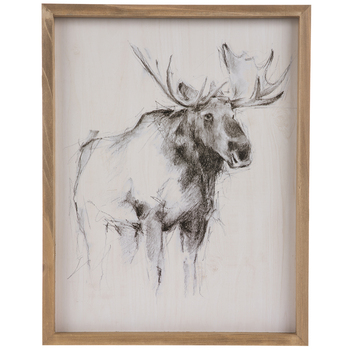 Sketched Moose Wood Wall Decor