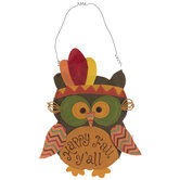 Happy Fall Y'all Burlap Owl Wall Decor