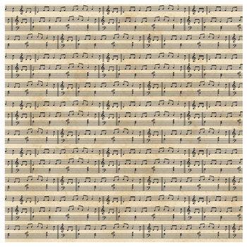 "Cream Foiled Sheet Music Scrapbook Paper - 12"" x 12"""