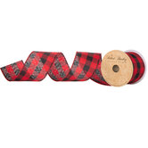 Black & Red Buffalo Check Wired Edge Ribbon - 2 1/2""
