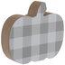 Gray & White Buffalo Check Wood Pumpkin