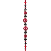 Red & Black Pearl, Crystal and Rhinestone Bead Strand