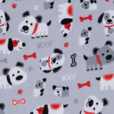 Gray, White & Red Dogs Fleece Fabric