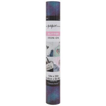 Black & Purple Galaxy Glitter Iron-On Vinyl