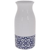 White & Blue Floral Tile Vase
