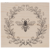 Bee & Wreath Rubber Stamp