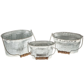 White Rustic Oval Galvanized Metal Bucket Set