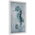Teal Watercolor Seahorse Framed Wood Wall Decor