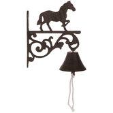 Horse Flourish Bell Metal Wall Decor