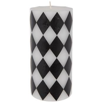 White & Black Harlequin Pillar Candle
