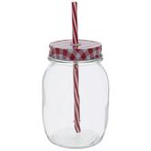 Mason Jar With Gingham Lid & Straw