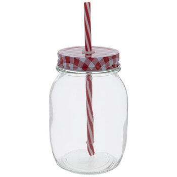 Mason Jar With Gingham Lid & Straw