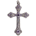 Cross Pendant With Purple Rhinestones