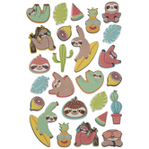 Sloth & Cactus Puffy Stickers