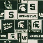Michigan State Block Collegiate Fleece Fabric