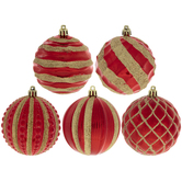 Assorted Red & Gold Ball Ornaments
