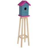 Blue & Pink Elevated Wood Birdhouse