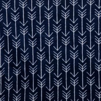 Navy & White Arrow Velvet Fleece Fabric
