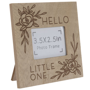 """Hello Little One Floral Wood Frame - 3 1/2"""" x 2 1/2"""""""