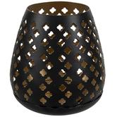Black & Gold Clover Candle Holder