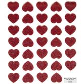 Red Glitter Heart Stickers