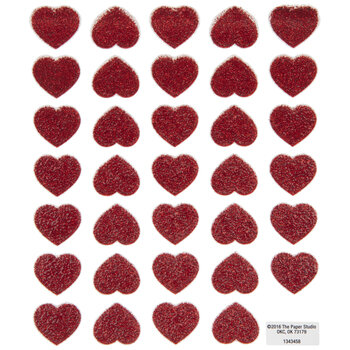 Red Glitter Heart Stickers