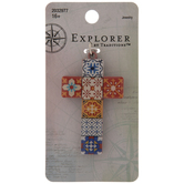 Orange & Blue Tile Cross Pendant