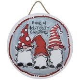 Holly Jolly Christmas Gnomes Wood Wreath Embellishment