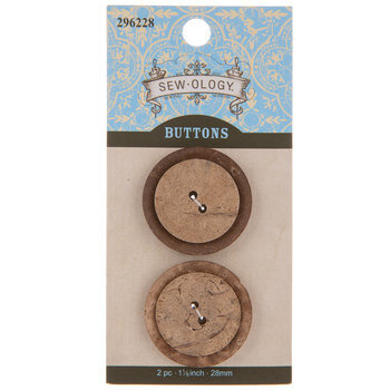 Coconut Round Buttons - 28mm