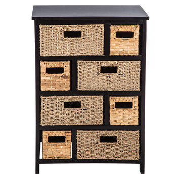 Black & Natural Wood Cabinet With Drawers