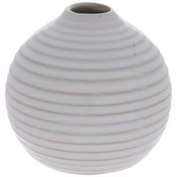 White Ridged Round Vase - Small
