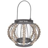 Silver Beaded Pumpkin Metal Lantern