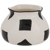 White & Black Square Print Flower Pot