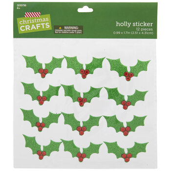 Holly Glitter 3D Stickers