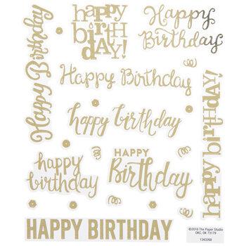 Gold Foil Script Happy Birthday Stickers