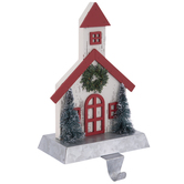 Red & White Church Wood Stocking Holder