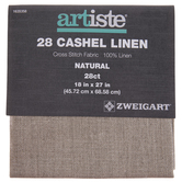 "Natural 28-Count Cashel Linen Cross Stitch Fabric - 18"" x 27"""