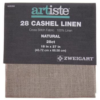 "Natural 28-Count Cashel Linen Cross Stitch Fabric - 18"" x 27"""