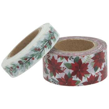 Poinsettias & Pinecones Washi Tape