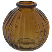Ribbed Round Glass Vase