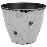 White Distressed & Crackled Flower Pot