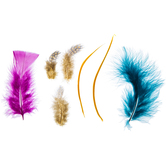 Gold, Turquoise & Purple Mixed Feathers
