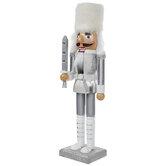 White & Silver Glitter Soldier Nutcracker