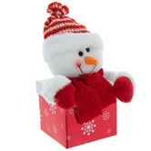 Glitter Gift Box With Plush Snowman Lid