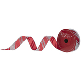 """Red & Silver Striped Wired Edge Ribbon - 1"""""""