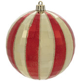 Red & Gold Striped Disco Ball Ornaments
