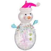 Frosty Candy Snowman With Pink Hat Ornament