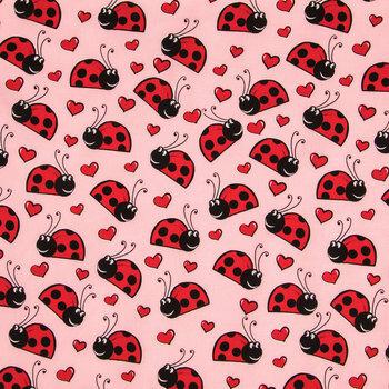 Happy Ladybugs On Pink Cotton Calico Fabric