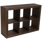 Dark Brown Open Cubes Wood Cabinet